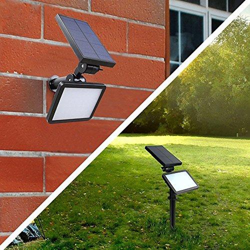 Lampade solari da giardino LED, riflettori solari resistenti all'acqua 1000 lumen da montare all'esterno, illuminazione da parete, illuminazione da parete con l'angolo regolabile con funzione Auto On / Off per usare in giardino, sul prato, dietro un cortile, su parete