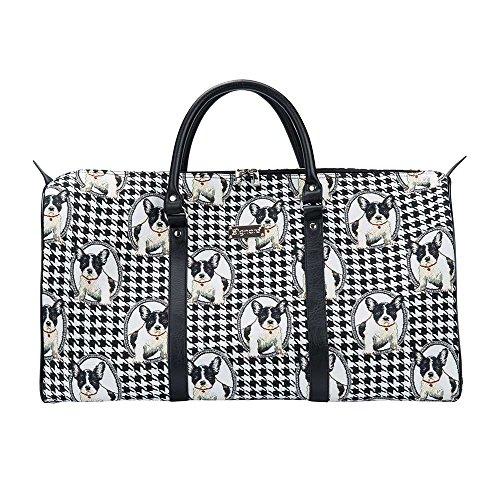 Bunte große Reisetasche von Signare / Gobelin-Gepäcktasche für Reisen und Sport / Französische Bulldogge (BHOLD-FREN) -