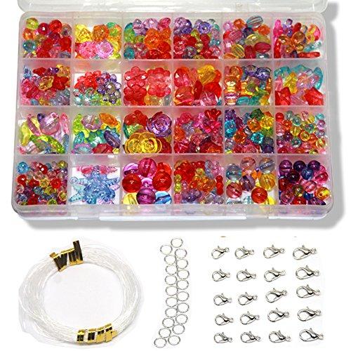 Ewparts 24 Arten Bunte Perlen Handwerk Perlen für Kinder DIY Armband, Perlenschnur, der Satz bildet, kultiviert Farben empfindlich, Farbe verbläßt nicht baby spielzeug (Transparente Bunte)