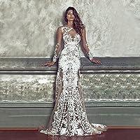 HYW Vestido de Noche Atractivo de la Boda del Partido del Vestido del Cordón de la Perspectiva,Blanco,SG