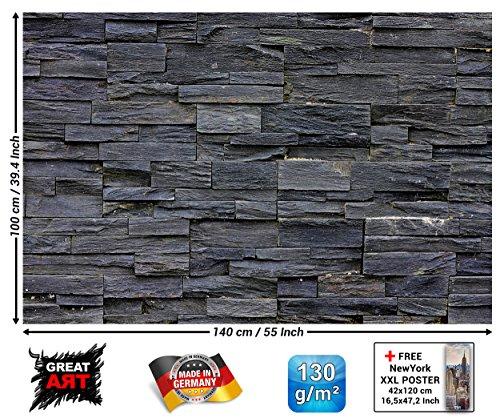 GREAT ART XXL Poster - Schwarze Steinwand - Wanddekoration Wandbild Steinmauer Naturstein Mauer Industrie Design Deko Steioptik 3D Wandverkleidung Motiv Fotoposter Wandgestaltung (140 x 100 cm)