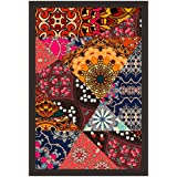 Mad Masters Festive Patchwork Pattern In Indian Style With Flower - Mandala. Bright Hippie Design Print On Fabric. 1 Piece Wooden Framed Painting |Wall Art | Home Décor | Painting Art | Unique Design | Attractive Frames