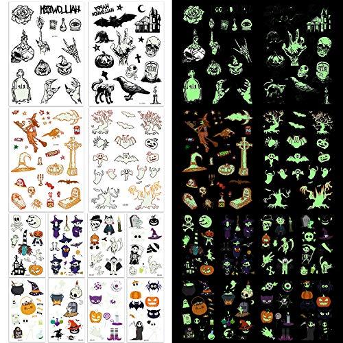 Kostüm Lumineux - Joyjoz 165× Halloween Temporäre Tattoos Kinder Wasserdicht Schminke Aufkleber Kunstblut Narben für Halloween Cosplay Carnival Party Prop Dekorationen