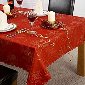 Linens Limited Angelica Christmas Tablecloth, Red, 63 Inch Round Diametre