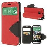 Handy Schutz in Perfektion | Ultra Slim Premium Handy Flip Case Cover Klapp Leder Tasche Schutz Hülle Etui Bumper mit Fenster aus hochwertigem Kunstleder mit Silikon Innen Schale Original Roar Fancy Case Für HTC One M8 Rot