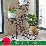 WYDM Fioriera a 3 piani in ferro battuto in metallo verticale fiore stand 3 vaso pianta rack cremagliera soggiorno decorazione del giardino cornice 68x25x75cm