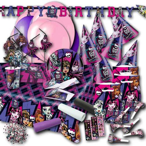 Monster High Kindergeburtstag Partydeko & Partygeschirrset XXL (Monster High Schwarz Und Weiß Frankie)