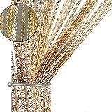 AIZESI Fadenvorhang Fadengardine 100x200cm Fadenstore Vorhänge Vorhang Fenstervorhang(Champagne)