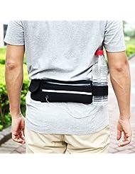 Zacro Cintura de Deporte Negra que con Los Bosillos para Iphone 6s/6/6plus ect, todos los móvies que menos de 6 pulgadas y otros objetos pequeños. Perfecto para correr, ciclismo,caminar, viajar, etc