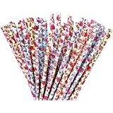 eBoot 75 Pieces Floral Paper Straw for Birthdays, Weddings, Baby Showers, Celebrations and Parties