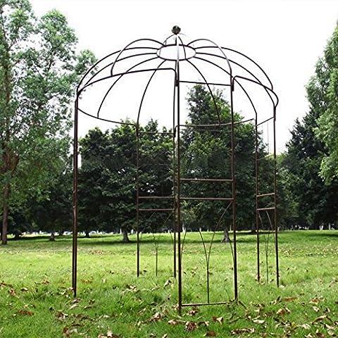 Outour® 4Côtés en forme de cage à oiseaux Métal Tonnelle Treillis Arche en fer forgé d'extérieur Arche de jardin Tonnelle Pergola Tonnelle Pavilion support de plantes plantes Rack pour plantes grimpantes et fleurs