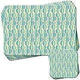 Pastello giallo blu verde modelli set di 4tovagliette e sottobicchieri, Acrilico, Green & Blue Odd Size Balls, 4 Placemats & 4 Coasters