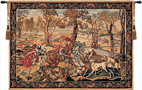 Charlotte Home Furnishings 6889-9543 Tapisserie-Kissen Hunt of The Boar, 33 x 45 cm, Braun -