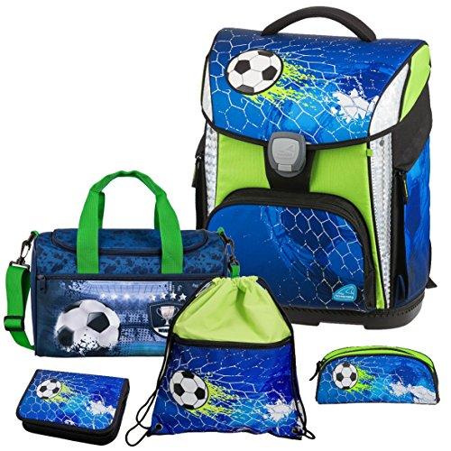 Soccer Champ - Fußball Football - Schneiders LED-TOOLBAG Plus mit LED-LEUCHTSYSTEM Schulranzen-Set 5tlg mit Sporttasche - 78324-074