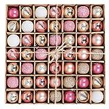 Victor's Workshop 49Pcs 30mm / 1.2inch Bolas de Navidad Ornamento inastillable Xmas Table Ball Decoration con Acabados Mixtos (Rosa y Dorado y Blanco)