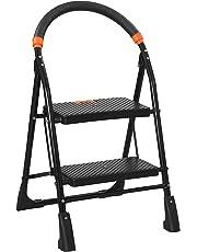 uberlyfe Blyssware Metal Foldable 2 Steps Ladder for Home Use , Black