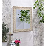 Art Street Floral White Decorative Wall Mirror / Looking Glass (Size - 16 X 19 Inch)
