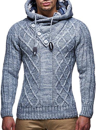 LEIF NELSON Herren Pullover Hoodie Kapuzenpullover Strickpullover Longsleeve Sweater Sweatshirt Pulli LN10346 Anthrazit