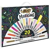 BIC Marking Marqueurs Permanents - Assortiment de Couleurs dont 3Métalliques, Boîte de 20