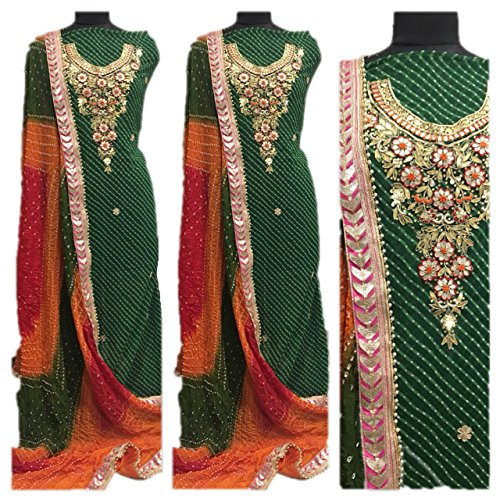 Georgette kurti Handwork heavy gota patti neck work With art silk bandhini...
