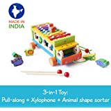 Shumee Wooden 3-in-1 Pull-Along Musical Animal Toys Sorting Truck (2 Years+) - Xylophone, Shape Sorter, Pull Along