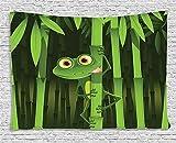 Decoración de rana verde con tapiz de animal, divertida ilustración de rana divertida en el...