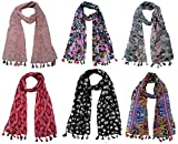 #10: Printed Designer Poly Cotton Set of 6 Mullticoloured stoles ; Trendy scarf stoles dupatta for Girls / Ladies / Women (F0144)