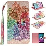 Qiaogle Téléphone Coque - PU Cuir rabat Wallet Housse Case pour Samsung Galaxy A3 (2016) / SM-A310 (4.7 Pouce) - TX42 / Colorful Mandala