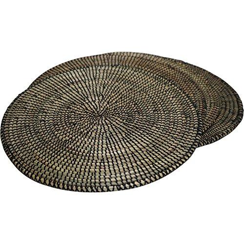 EA Déco Naturel & Design 4 Sets de Table Pindé, Plastique, Noir, 40x40x1 cm