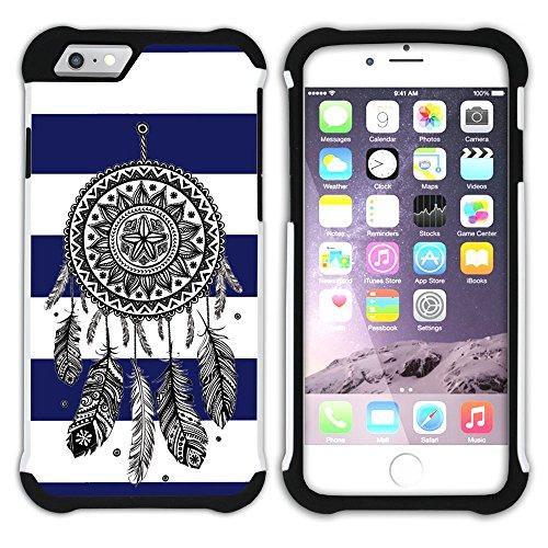 Graphic4You Traumfänger Linien Muster (Wasserblau) Hart + Weiche Kratzfeste Hülle Case Schale Tasche Schutzhülle für Apple iPhone 6 Plus / 6S Plus Marineblau