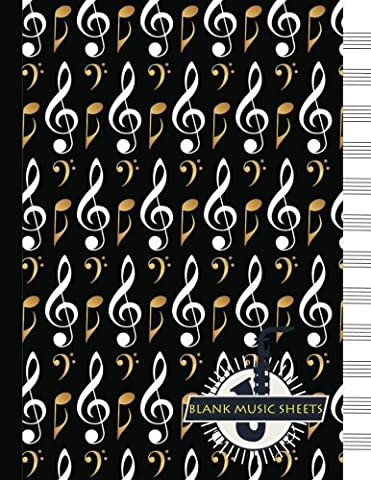 Blank Music Sheets: Pretty Music Notes Journal / Music Notebook Paper 12 Staves / 8.5 x 11 inches / A4 / 100 pages / Music Manuscript Paper / Staff Paper
