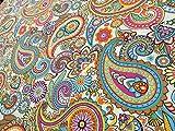 Creme Paisley Polster Vorhang Baumwolle Stoff Material–140cm (139,7cm) breit, Meterware,