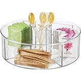 mDesign plateau tournant pour le plan de travail, le garde-manger ou le frigo – Lady Susan avec 5 compartiments en plastique