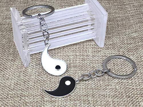 Llavero de Parejas Motivo Yin Yang con Esmalte Negro Blanco
