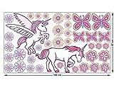 GRAZDesign 991236_57 Fenstersticker Einhörner und Blüten | Fensterbilder als Bunte Tattoos Fürs Kinderzimmer (100x57cm)