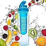 Wasserflasche / Trinkflasche für Fruchtschorlen (700ml) - 100% dicht & ideal für Sport / Frezeit - die Sportflasche / Infuser-Flasche ist hergestellt aus BPA-freien Tritanmaterial - Farbe: Türkis