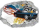 Vlies Fototapete / Poster / 3D Wandillusion /Loch in der Wand *Graffiti / Auto / Rennwagen*