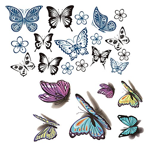 Evtech(tm) 2 Style New Design 3D Temporary Tattoos Hippy-Nightclub Über Tattoos Fashion Totem Aniaml Buterfly Fairy Blau Schwarz Lila Colorful Floral Body Art (Fairy Body Art)