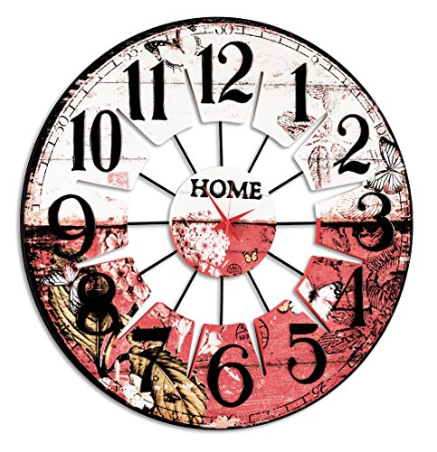 Pintdecor Hemingway Horloge, MDF, Multicolore, 80 x 80 x 3 cm