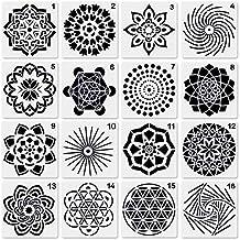 Novelfun - Juego de 16 plantillas para pintar con diseño de mandala, plantillas para decoración
