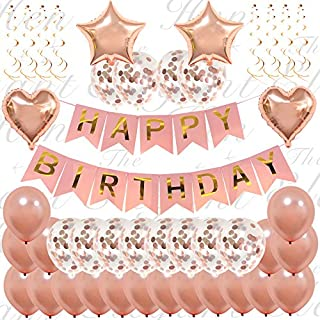 The Elegant Hen 45 Piece Ultimate Rose Gold Happy Birthday Decorations | Classy Birthday Confetti Balloon Banner Set Girls and Women | Inflatable Party Supplies | 16th 18th 21st 30th 50th 60th