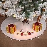 ZEZKT 90cm Plüsch Weihnachtsbaum Röcke,Rüschen Rand für Weihnachtsbaum Dekoration Neujahr Party Urlaub Baum Ornamente Weiß Kunstfell