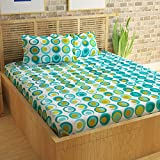 #7: Story@Home Candy 120 TC Cotton Double Bed Sheet with 2 Pillow Covers - Geometic Circles, Queen Size, Cyan and White