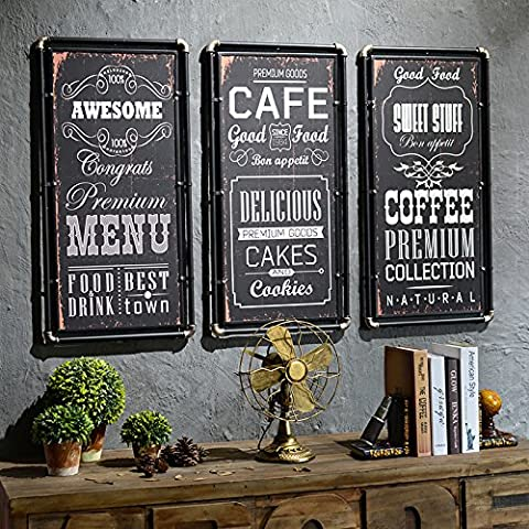 JJ/Viento/vintage industrial marco madera pared cuadro montado/barra de hierro y un Café Internet traje/tiendas/decorados ,