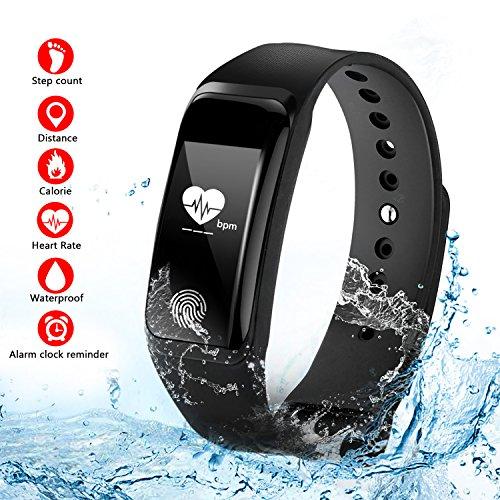 Suntop Fitness Tracker Armband, Herzfrequenzmesser Fitness Tracker Sportuhr Smart Bracelet Spritzwassergeschützt Bluetooth Smartwatch