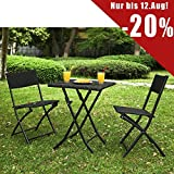 SoBuy® Rattan Folding Garden Furniture Set--1 Table and 2 Chairs, Outdoor Furniture Set Bistro Set, Black, OGT02