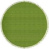 casa pura® Gartentischdecke Wonderland für Garten und Balkon | Weichschaum Tischdecke mit Fransen | rund 140 cm | Pflegeleicht und Wetterfest | in 3 Farben (Uni grün)
