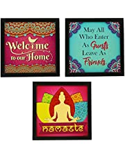 Indianara Framed Wall Hanging Welcome Home Decor Art Prints Without Glass (Synthetic Wood, 8.7 X 8.7 Inch, Multicolor) 3-Piece