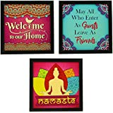 Indianara 3 Piece Set Of Framed Wall Hanging Welcome Home Decor Art (1193) Prints 8.7 Inch X 8.7 Inch Without Glass