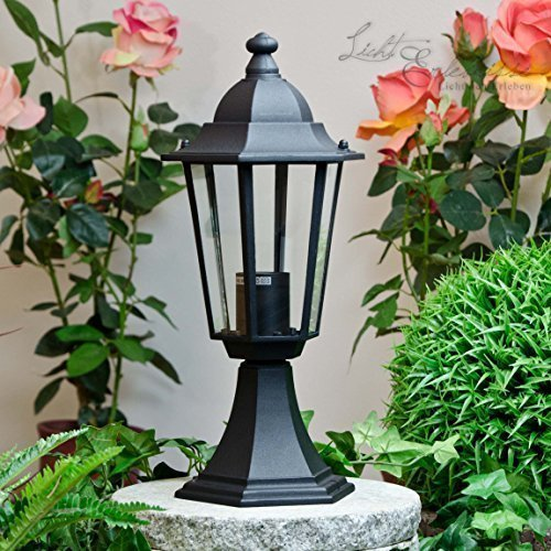 Noire Borne lumineuse Lumière de trajet Fonte d'aluminium & Verre E27 230V Lumière de la route éclairage d'extérieur pour Cour et Jardin